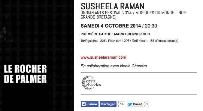 Rocher de Palmer Susheela Raman Mark Brenner Neela Chandra Indian Arts Festival 2014 Bordeaux